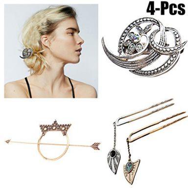 : fascigirl-4pcs-hair-barrettes-fashionable-decorative-metal-hair-clips-hair